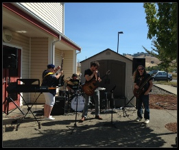 Phoenix School Band students and faculty playing outside the school for an assembly. Roseburg, OR